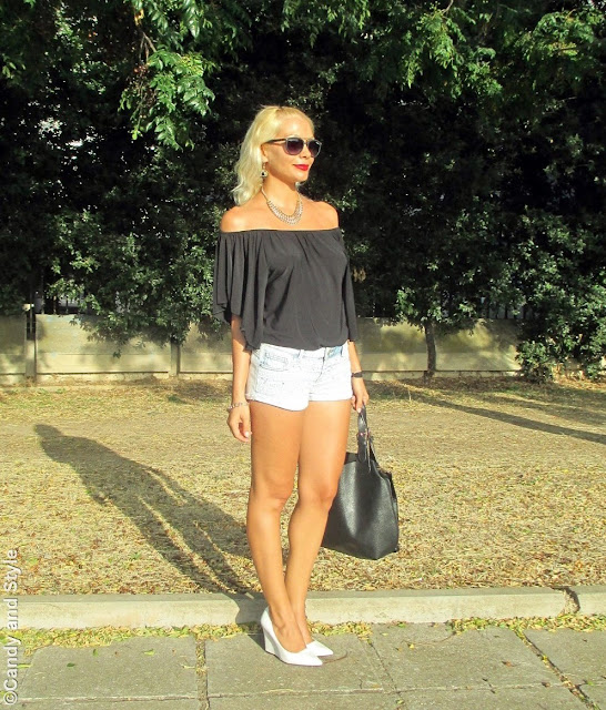 OffTheShoulderTop+DenimShorts+WhiteWedges+RedLips