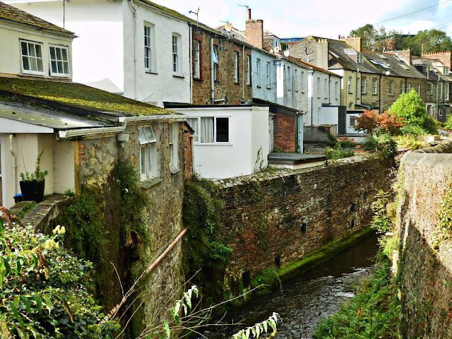 The backs of houses and the river in Truro, Cornwall