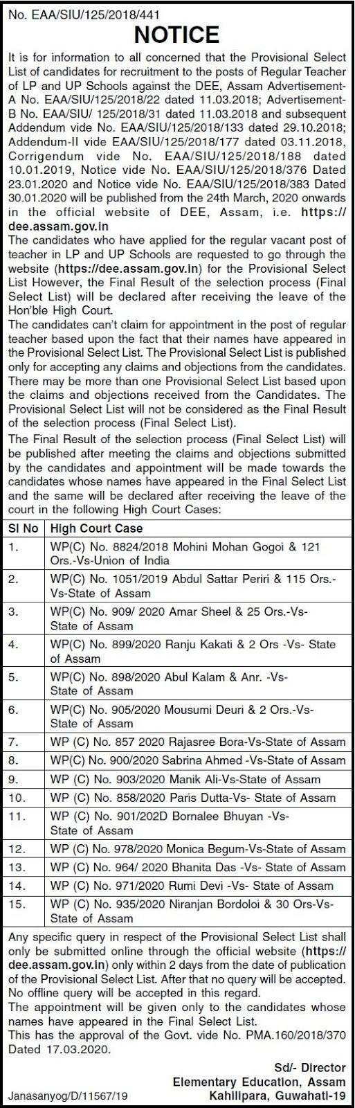 Latest News about DEE Assam Teachers Merit List