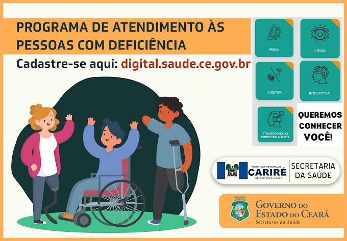 Secretaria da Saúde de Cariré avisa: Cadastro para o Programa de Atenção a Pessoa com Deficiência vai até 3 de março