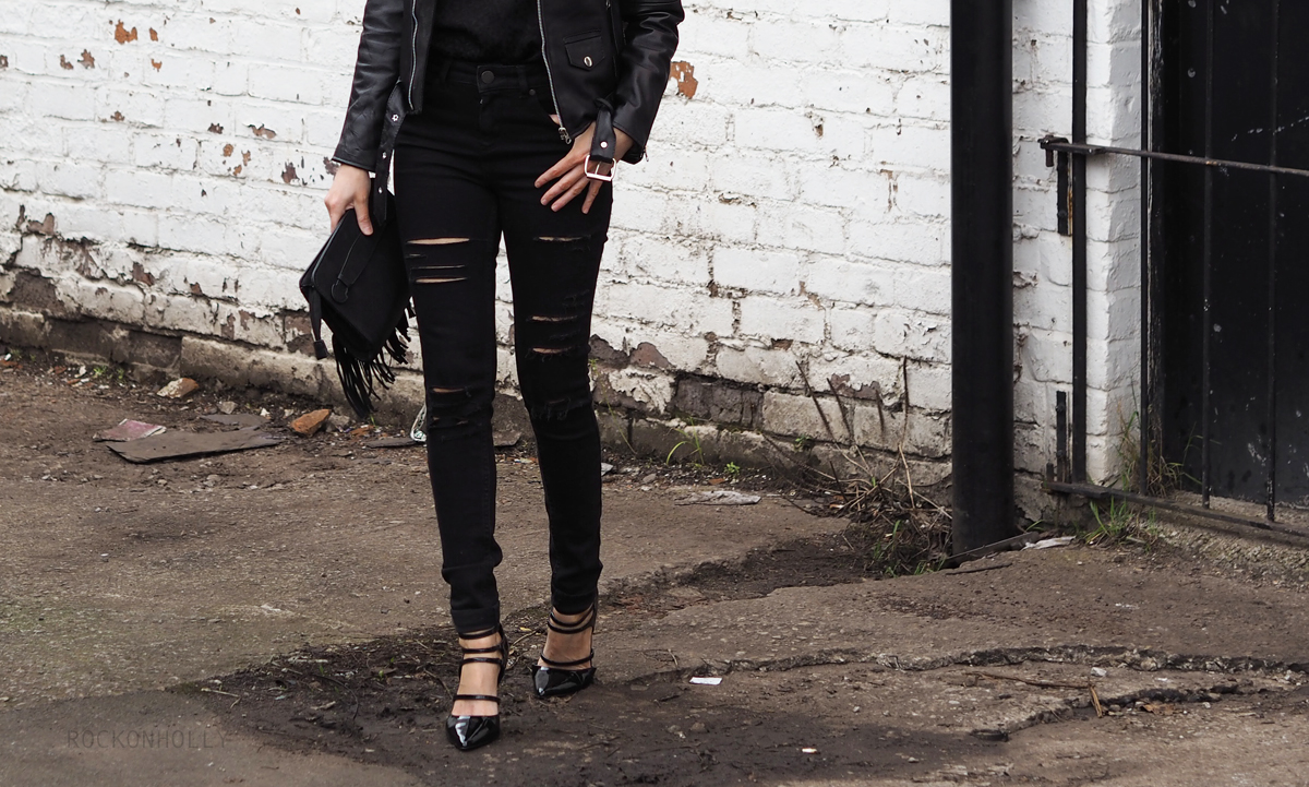 Miss Selfridge Black Ripped Jeans on Rock On Holly