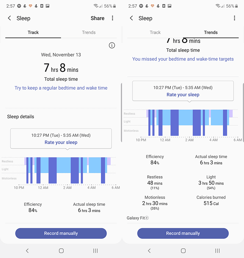 Samsung Galaxy Fit e Sleep tracking