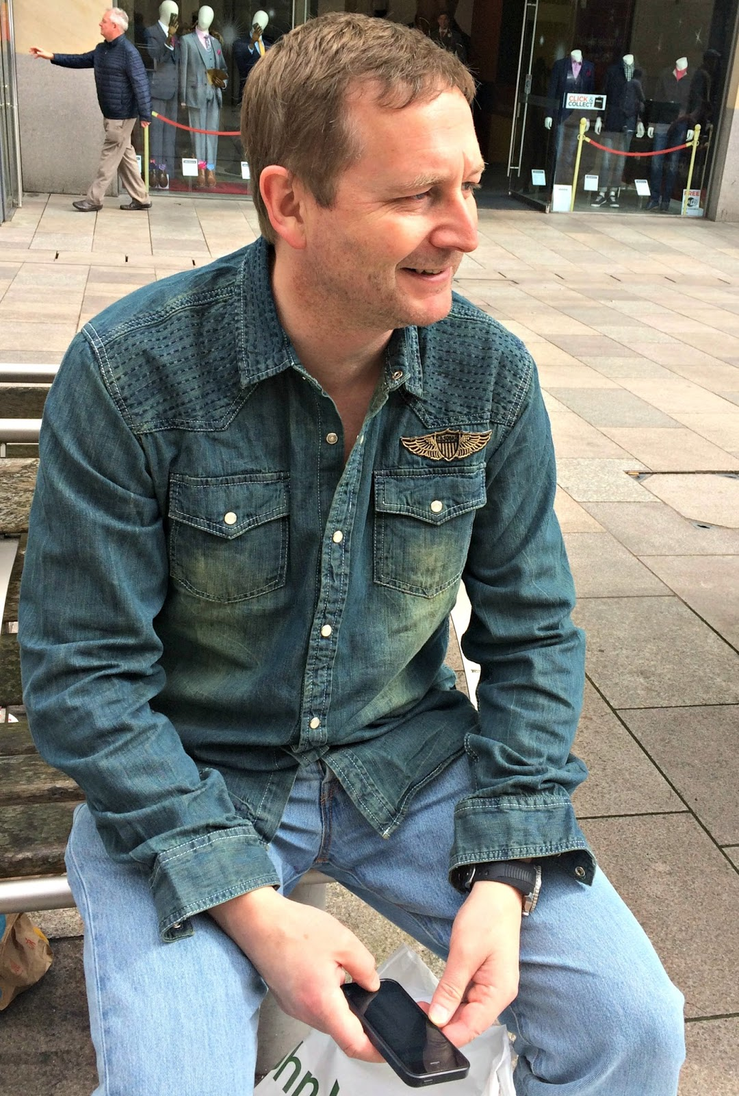 Mat Hobbis wearing Joe Brown Denim Shirt from Jacamo