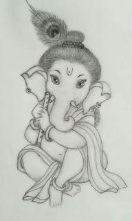 Ganpati Pencil Art Sketch
