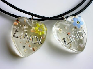 Personalised pendants for cremated ashes