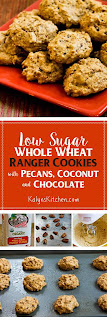 Low-Sugar and Whole Wheat Ranger Cookies with Pecans, Coconut, and Chocolate [found on KalynsKitchen.com]