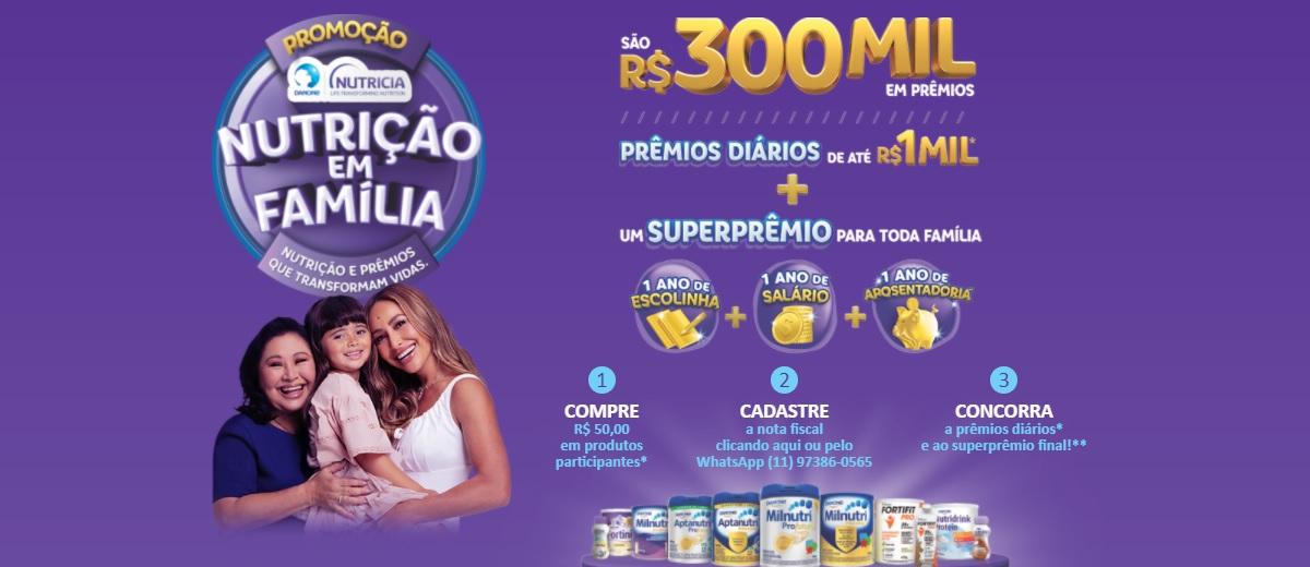 Promoção Nutricia Danone Nutrição em Família 2021  Cadastrar Aptanutri, Milnutri, Fortini - 300 Mil Reais