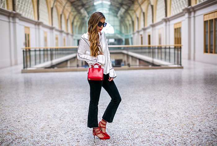 line and dot piping satin shirt, j brand jeans, karen walker sunglasses, kendra scott earrings, valentino rock studs, new york fashion week, spring outfit ideas, strathberry nano tote, san francisco style blog, san francisco street style