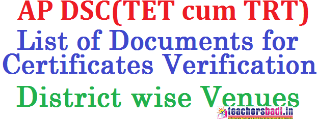 List of Documents,AP DSC,Certificates Verification,Venues