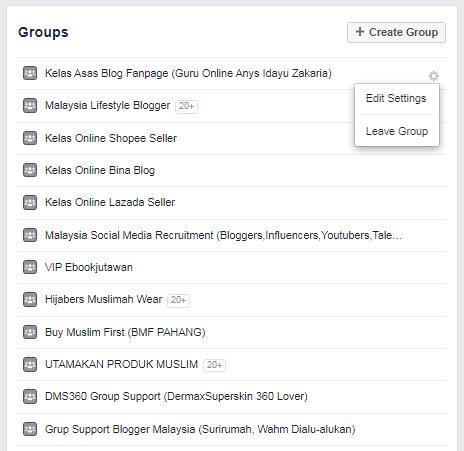 cara cari list facebook group