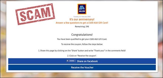 لسلامتكم بعد الآن، احذروا هذه الخدع السبعة على الفيسبوك! Aldi-gift-card-scam-250220-1