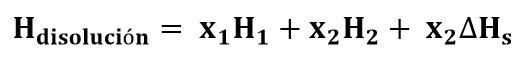 Ecuación para entalpía en una disolución
