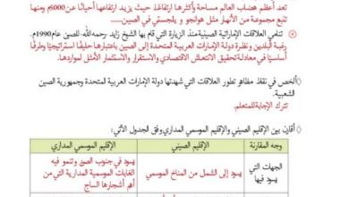 حل المدرسة الاماراتية دراسات اجتماعية