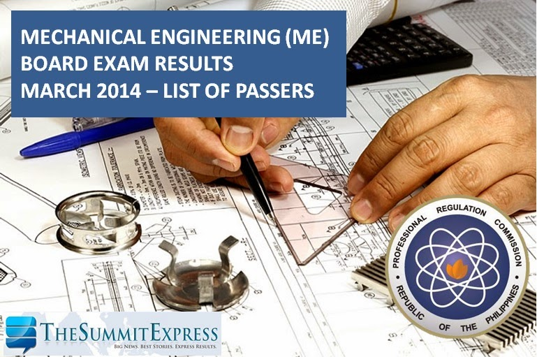 March 2014 Mechanical Engineering (ME) board exam results | List of Passers