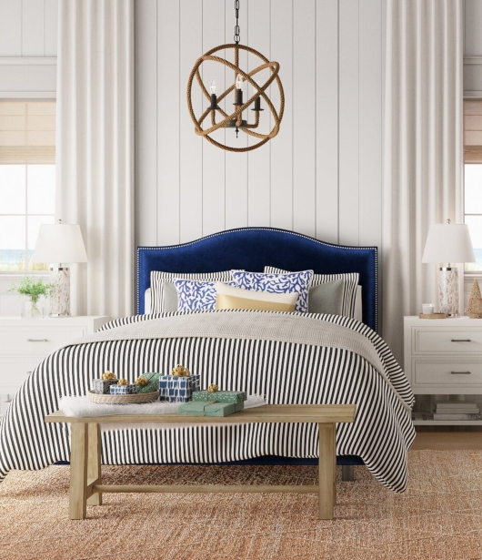 Blue Upholstered Beds for Coastal Living