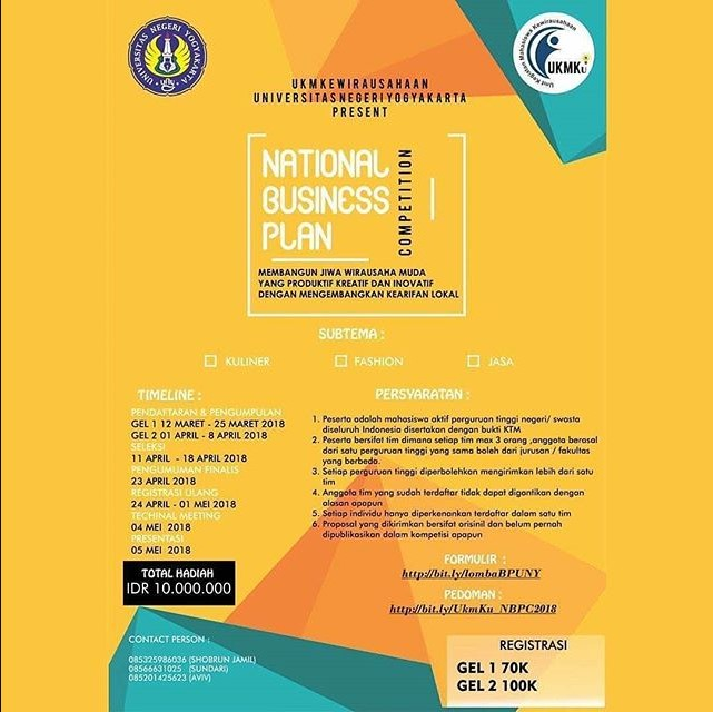 Lomba National Business Plan Competition 2018 UNY