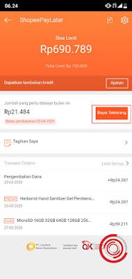 2. Jika pada menu ShopeePayLater sudah muncul tagihan, silakan klik Bayar Sekarang