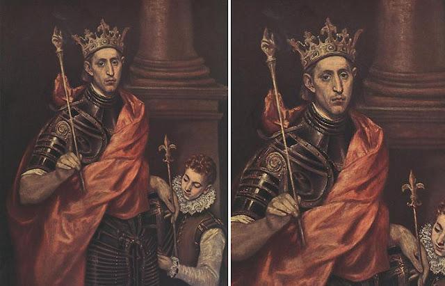 """""""São Luís, Rei da França, com uma Página"""" pintura de El Greco (1590)"""