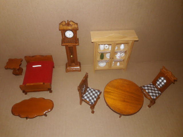 Dollhouse Miniature Wooden Furniture Kitchen & Dining Room Bedroom