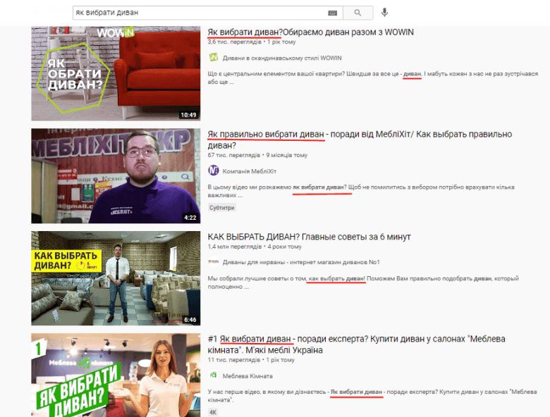 пошукові запити в YouTube