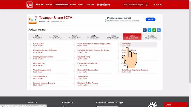 cara menonton siaran SCTV kemarin malam di UseeTV