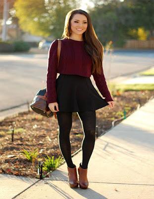 outfits con falda y leggins