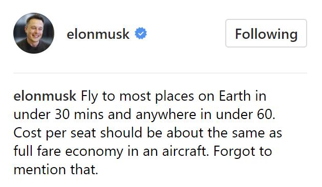 Илон Маск & SpaceX, Презентация BFR — Стоимость перелета