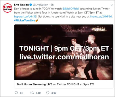 TONIGHT Niall Horan streaming live on Twitter