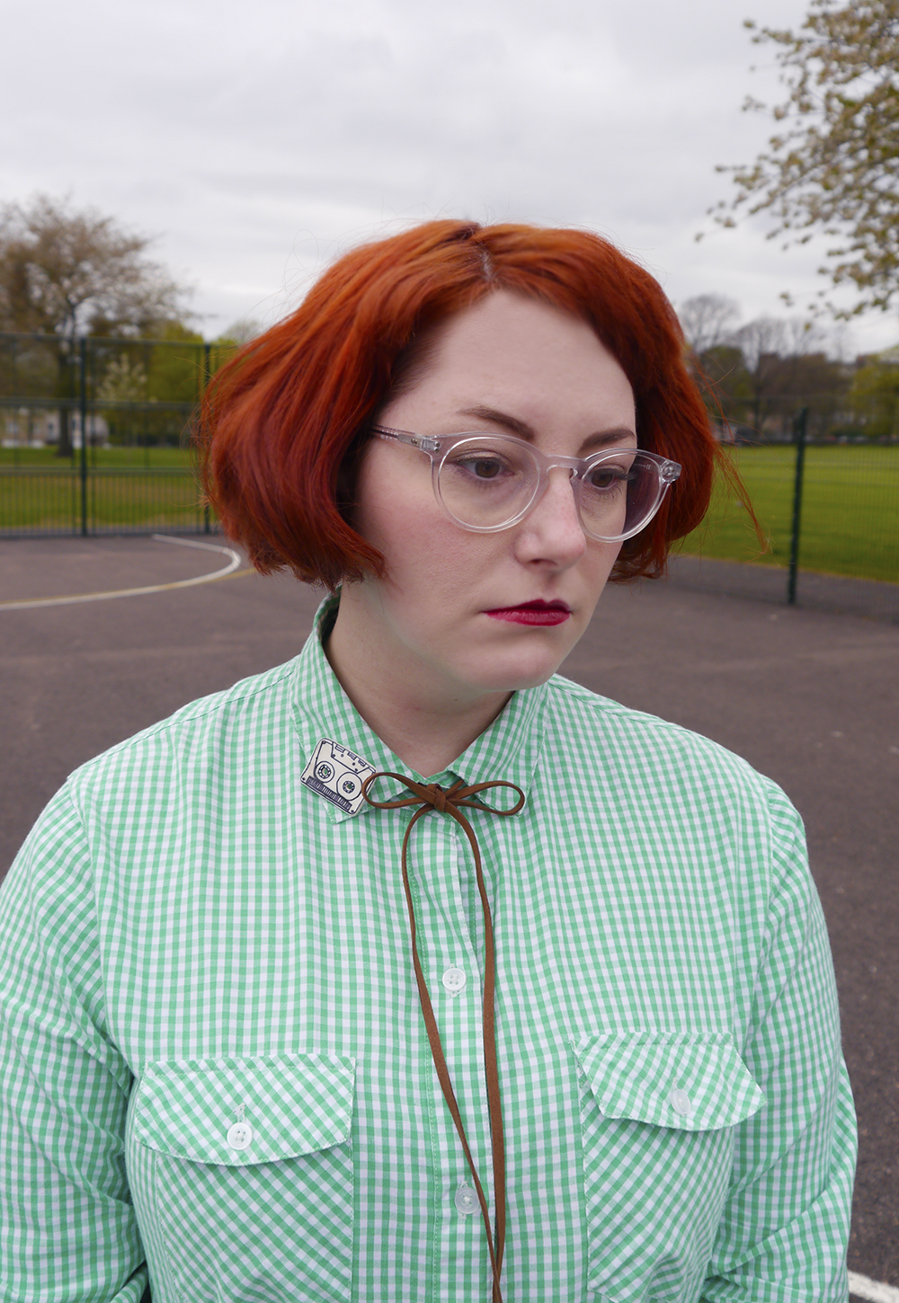 Unlikely Style Icon, blog birthday, Wardrobe Conversations, Scottish bloggers, Scottish fashoin bloggers, Dundee bloggers, Pedro Sanchez, Vote for Pedro, Napoleon Dynamite style, Napoleon Dynamite costume, easy costume idea, film costume, movies costume idea, charity shop find, checked shirt, green gingham shirt, little lies boho necklace, cassestte brooch, cowgirl style, western style, simple wild west outfit, new look jeans, zara brown boots, bad hair day, #seewithiolla, iolla glasses, Iolla clear Bell frames