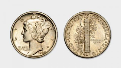 1929 Mercury Dime - Source: U.S. Commission of Fine Arts - https://www.cfa.gov/about-cfa/design-topics/coins-medals/mercury-dime