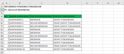 Contoh fungsi if excel