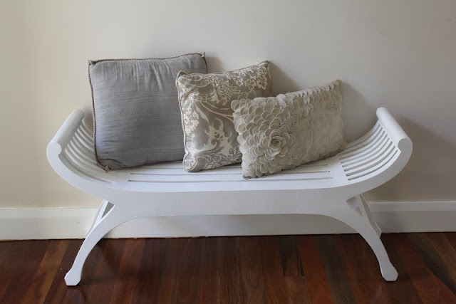 white painted bench beach teak