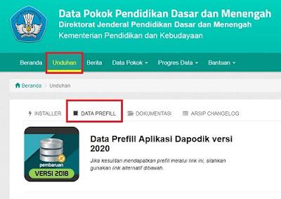 Prefill Aplikasi Dapodikdasmen Versi 2020.b