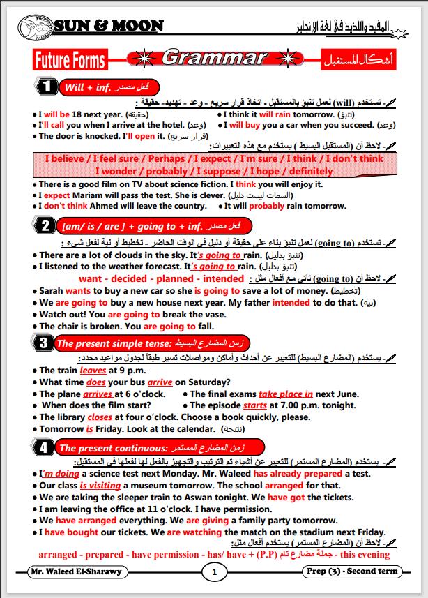 قواعد ولغويات لغة انجليزية للصف الثالث الإعدادى الترم الثانى 2021 شمس وقمر