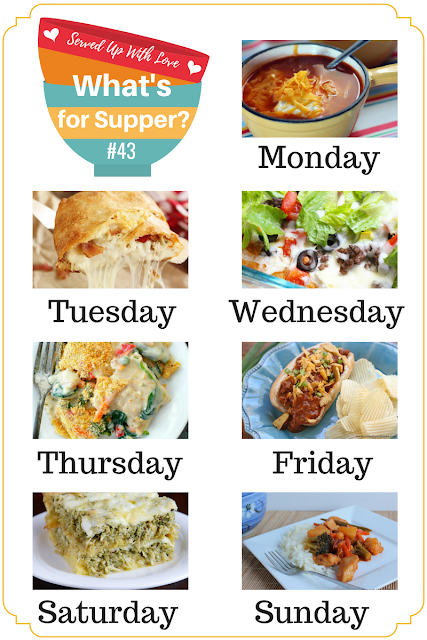 Crock Pot Chicken Taco Soup, Sweet and Sour Chicken, Creamy Ravioli Bake, and more are featured at What's for Supper Sunday over at Served Up With Love