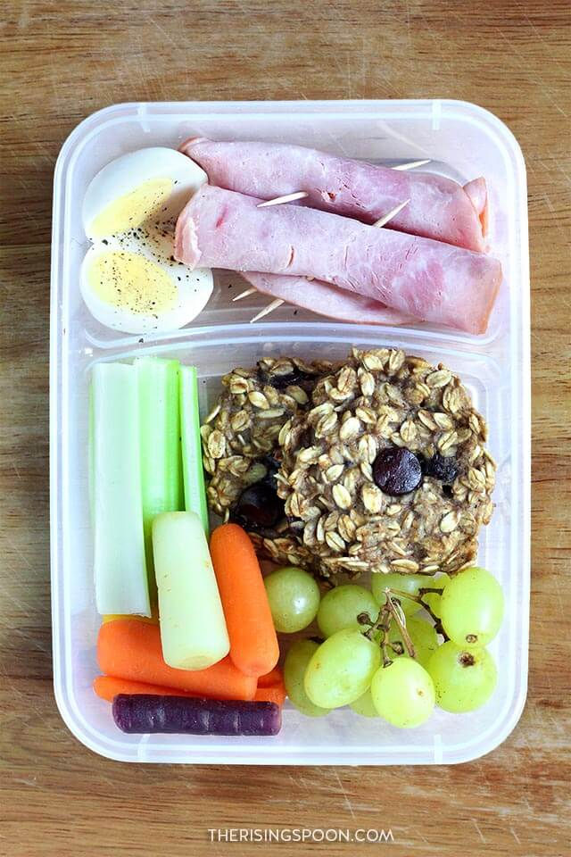 Healthy Make-Ahead Cold Lunch Idea (For Back to School & Work): Meat & Cheese Roll-Ups & Banana Oatmeal Cookie