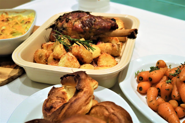 Slow Roasted Leg of Lamb with Roast Potatoes in Rosemary & Garlic, Glazed Carrots & Leek Gratin