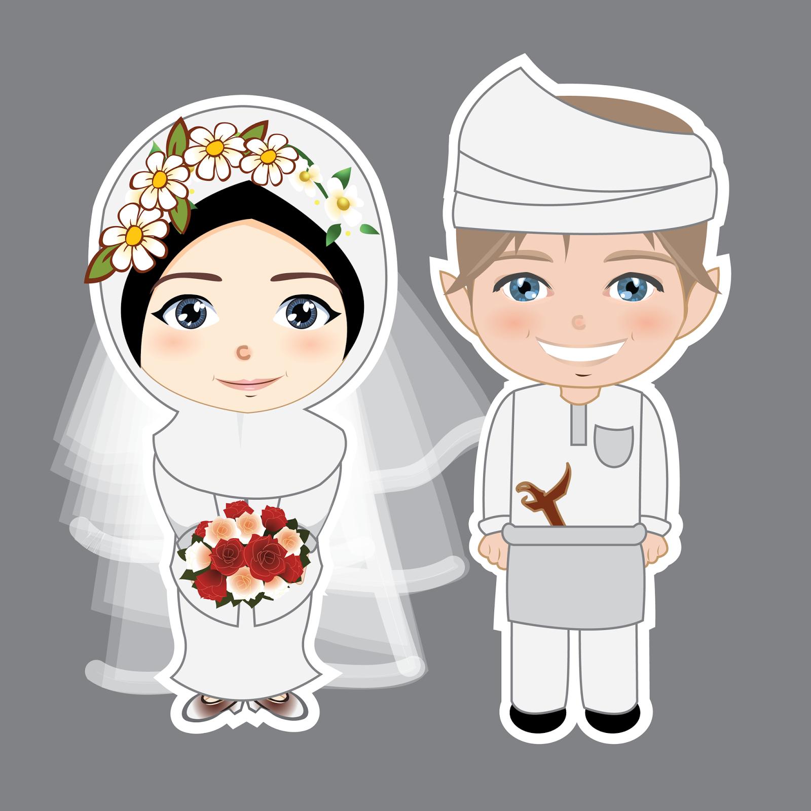 Gambar Gambar Kartun Muslimah Nikah Bliblinews Islami Pernikahan