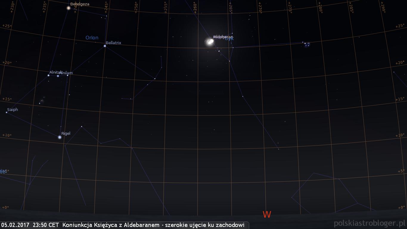 05.02.2017  23:50 CET  Koniunkcja Księżyca z Aldebaranem - szerokie ujęcie ku zachodowi