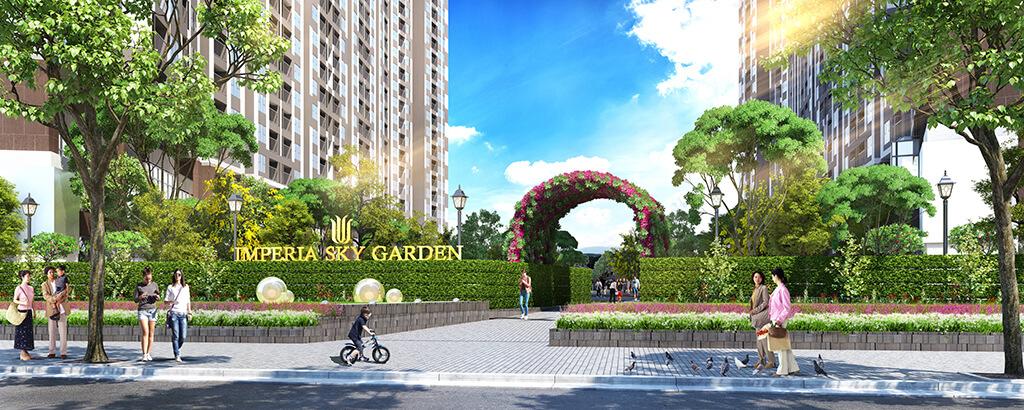 Cổng vào dự án chung cư Imperia Sky Garden