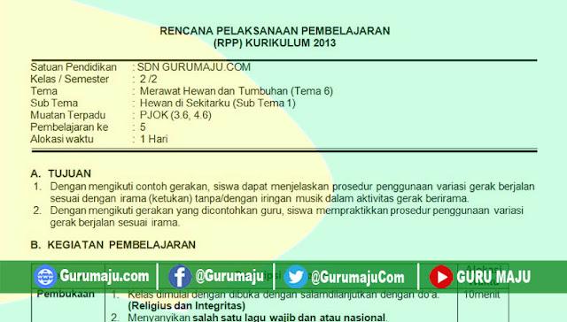 RPP 1 Lembar PJOK SD Kelas 2 Tema 6 Revisi 2020