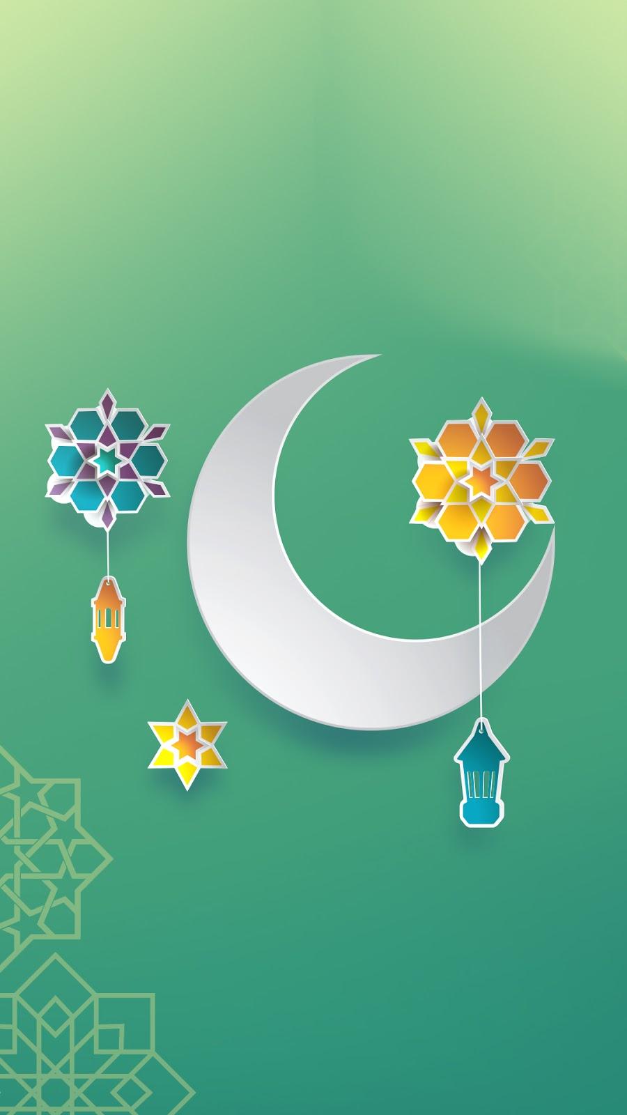 Wallpape Gambar ramadhan keren bulan sabit warna hijau