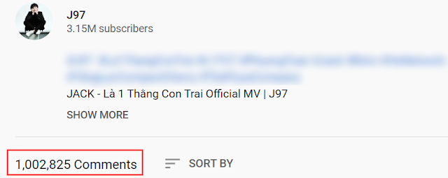 MV 'Là Một Thằng Con Trai' của Jack cán mốc 1 triệu bình luận nhanh nhất lịch sử Vpop