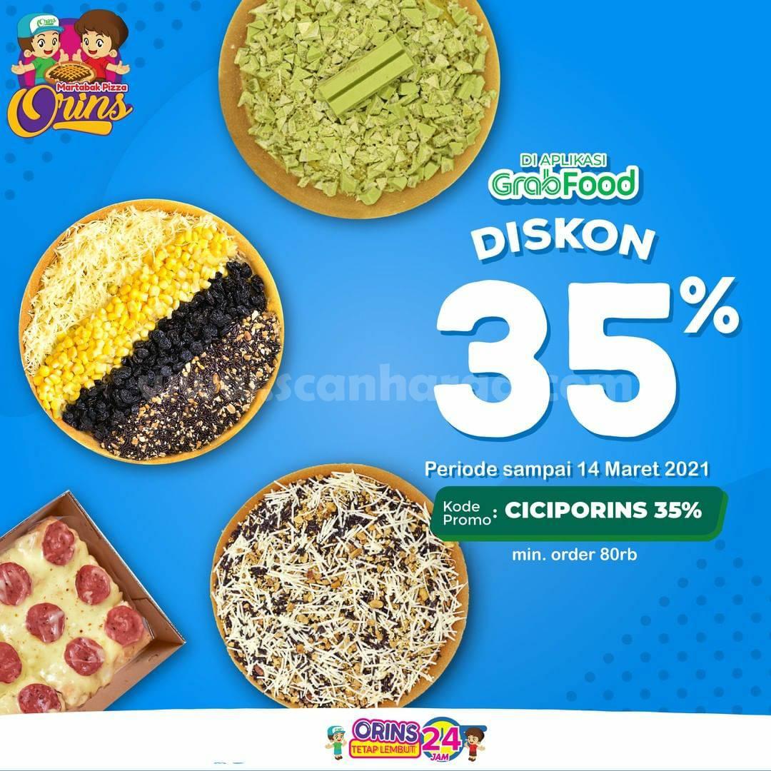 MARTABAK ORINS Promo DISKON 35% Khusus pemesanan via Aplikasi GRABFOOD