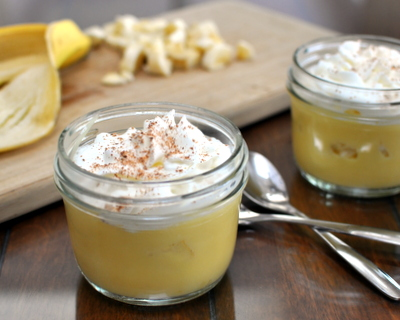 Banana Cream Pudding Cups, it's Banana Cream Pie in a mini mason jar. One pudding recipe for parfaits, pie, pavlova and even (yummm) just plain with chopped banana.