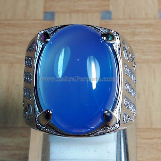 Cincin Batu Blue Chalcedony + Memo - ZP 884