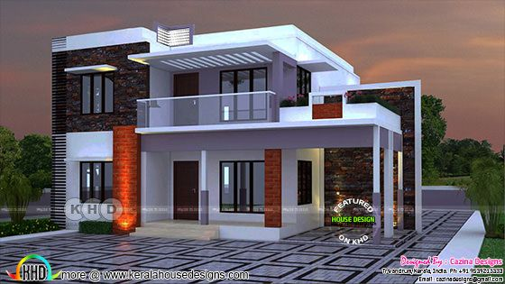 Flat roof 2400 sq-ft 4 bedroom home