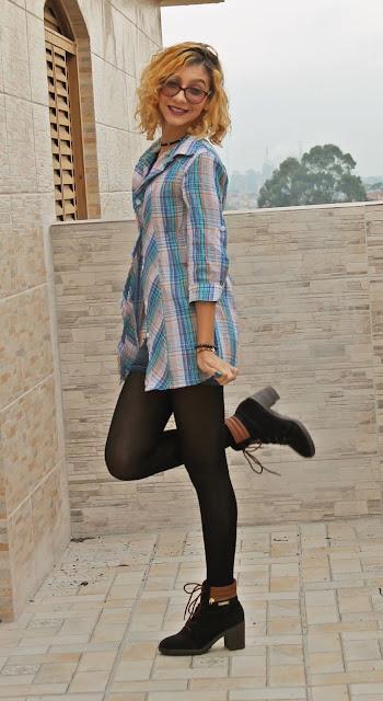 Look para você usar no Outono/Inverno: Camisa Xadrez com Shorts