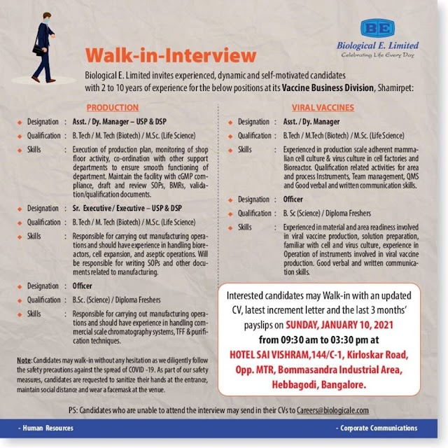 Biological E | Walk-in for Production/Viral Vaccines on 10th Jan 2021 at Bangalore