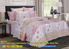 Sprei Custom Katun Lokal Dewasa Patchwork Pink Pattern Kolase Kotak Pink